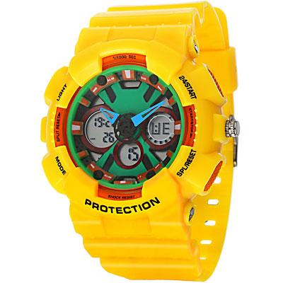 amour-彩紅狂熱運動腕錶-綠x黃-51mm