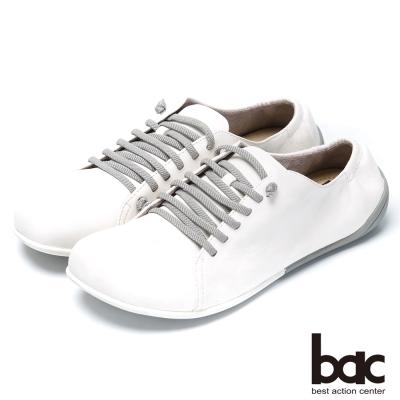 bac時尚樂活 舒適綁帶羊皮休閒鞋-白