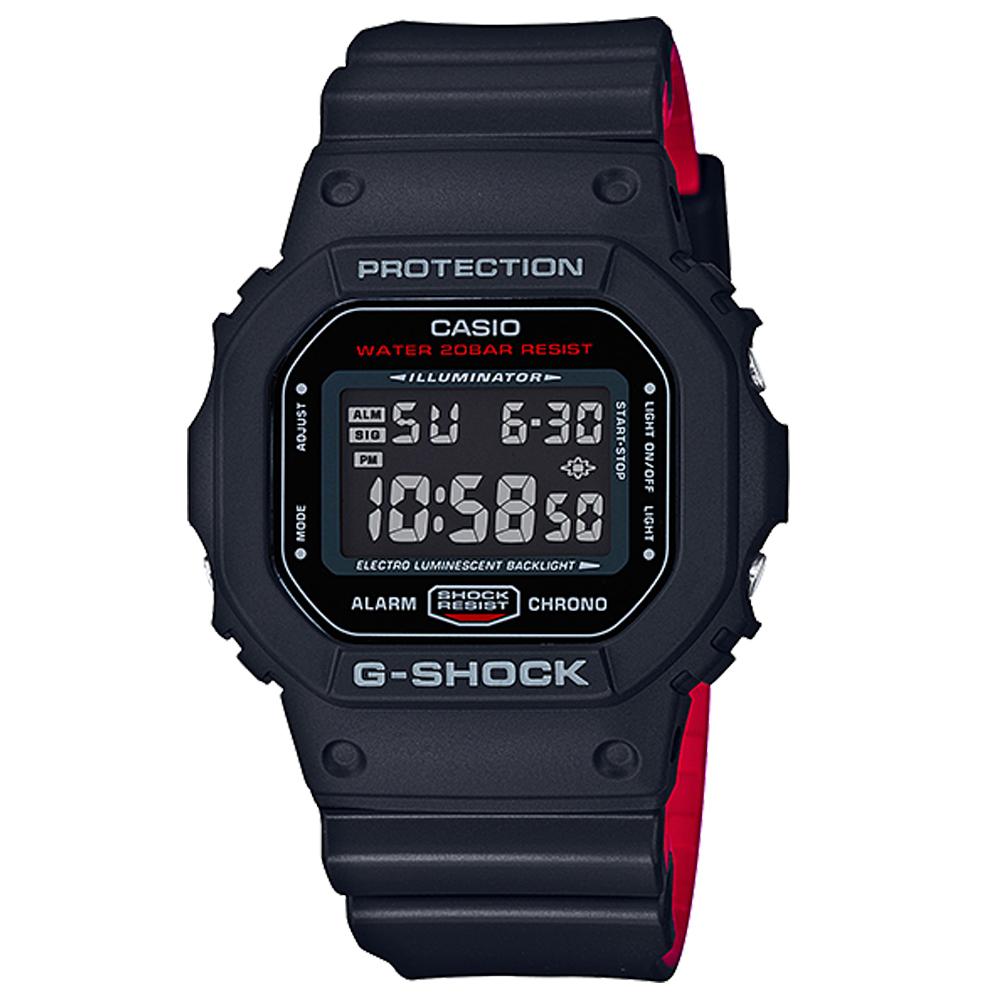 G-SHOCK卡西歐騎士精神復刻經典運動錶DW-5600HR-1-黑48.9mm