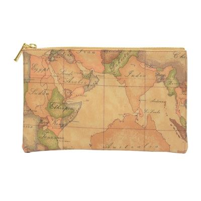 Alviero Martini 義大利地圖包 拉鍊手拿化妝收納包(中)-地圖黃