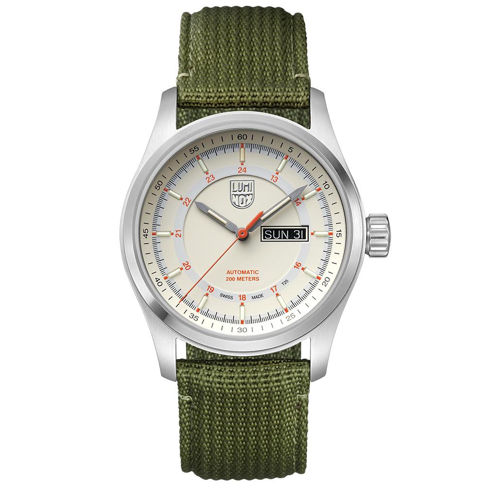 LUMINOX 雷明時ATACAMA FIELD戰場系列自動上鍊機械錶-米白色/44mm