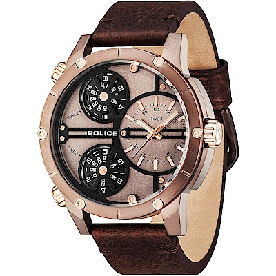 POLICE 紳士旅程三時區時尚皮革手錶-古銅X咖啡/50mm