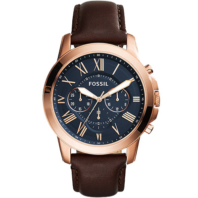 FOSSIL Grant經典復刻計時真皮手錶(FS5068)-藍X玫瑰金框/44mm