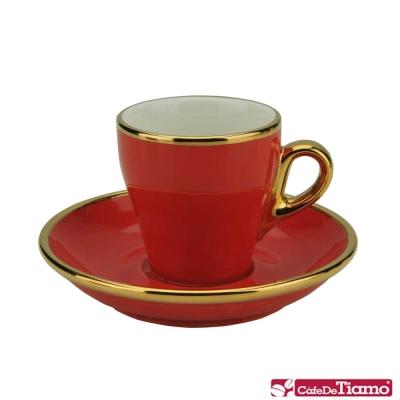 Tiamo 17號鬱金香濃縮杯盤組1客90cc K金-紅色HG0846R