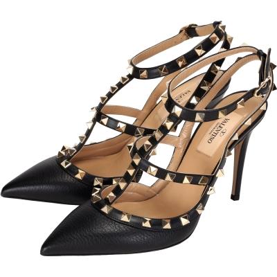 VALENTINO ROCKSTUD 小牛皮壓紋鉚釘繫帶高跟鞋(黑色)
