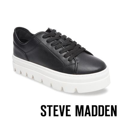 STEVE MADDEN-KICKSTART 純色綁帶厚底鞋-黑色