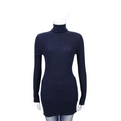 ALLUDE 深藍色羊毛高領長版針織上衣