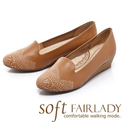 Fair Lady Soft 芯太軟 冰淇淋刺繡圖騰楔跟鞋 棕