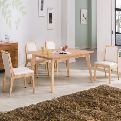 Boden-溫蒂北歐風實木餐桌椅組(一桌四椅)