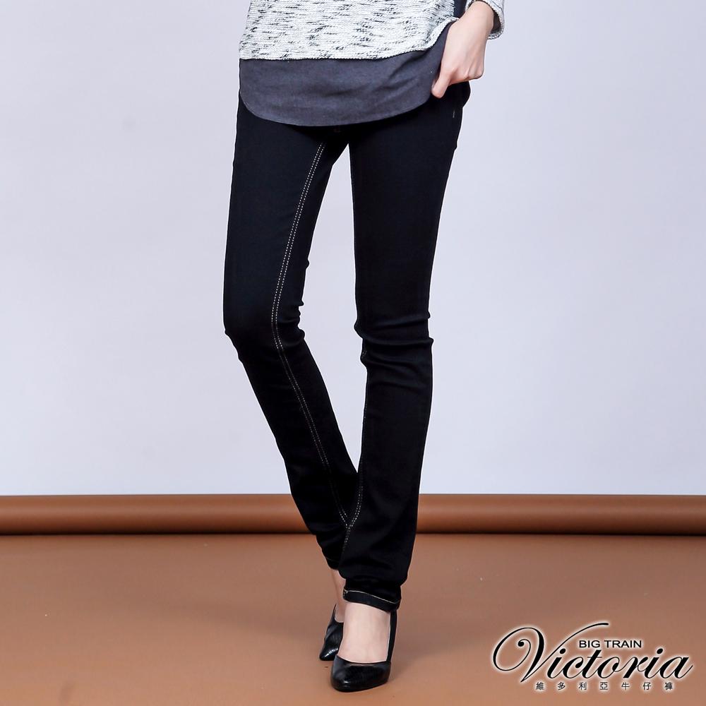 Victoria 中腰提臀燙鑽刷毛窄管褲-女-黑