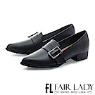 Fair Lady 英倫時尚方釦裝飾粗跟鞋 黑