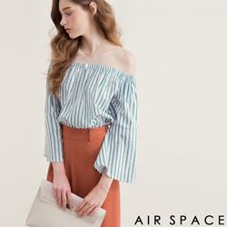 AIR SPACE 配色直條紋寬袖一字領上衣(綠)