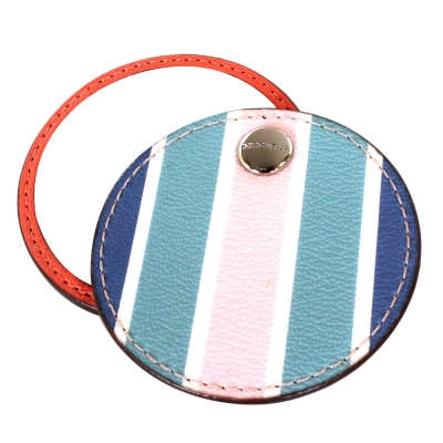 COACH-條紋防刮轉式隨身圓鏡-藍-粉