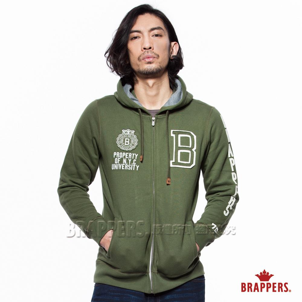 BRAPPERS 男款 貼布繡休閒版連帽外套-軍綠