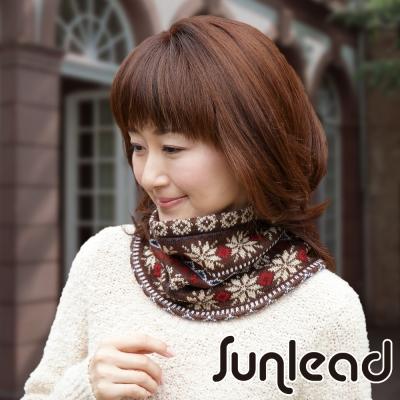 Sunlead 雙面可戴。保暖防風雙層加厚密針織防寒脖圍 (暖棕色)