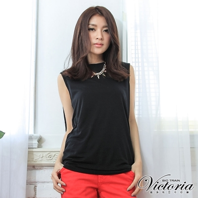 Victoria 優雅包肩燙鑽TEE-女-黑色