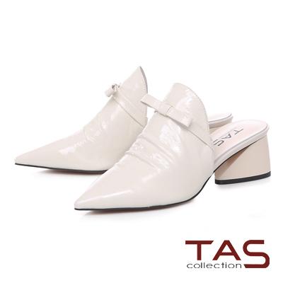 TAS蝴蝶結抓皺尖頭粗跟穆勒鞋-優雅白