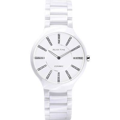 Relax Time 晶鑽時標陶瓷時尚腕錶-白/39mm