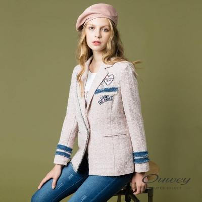 OUWEY歐薇 粉嫩甜美貼布繡外套(粉)