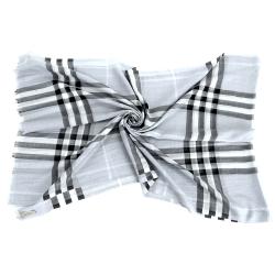 BURBERRY 格紋羊毛絲綢圍巾(灰藍色)