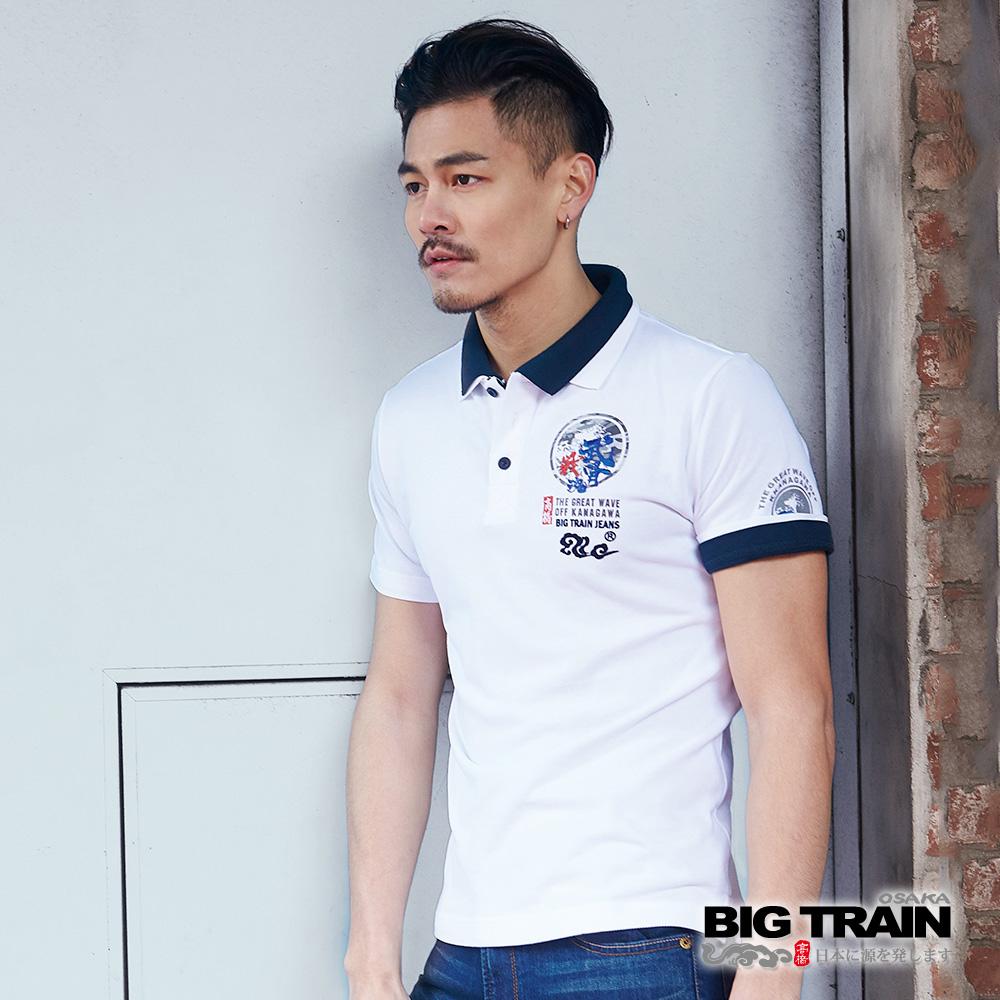 BIG TRAIN 武骨戰魂雲POLO衫-男-白色