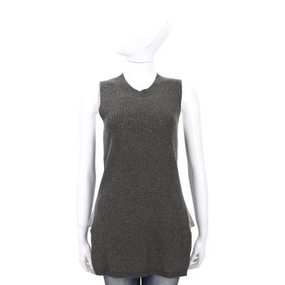 ALLUDE 灰綠色拼接千鳥格無袖針織上衣(30%CASHMERE)