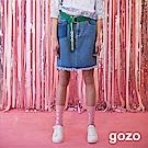 gozo 洗色裝飾口袋不修邊膝上牛仔裙(淺藍)