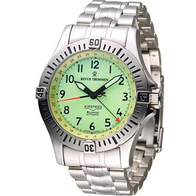 梭曼 Revue Thommen XLARGE系列先鋒機械錶-銀綠/43mm