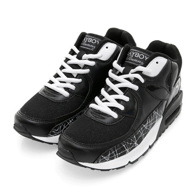 PLAYBOY 炫彩行頭 直紋線條氣墊運動鞋-黑白
