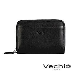 VECHIO-紳士商務款II-經典素面拉鍊高型零錢包-時尚黑
