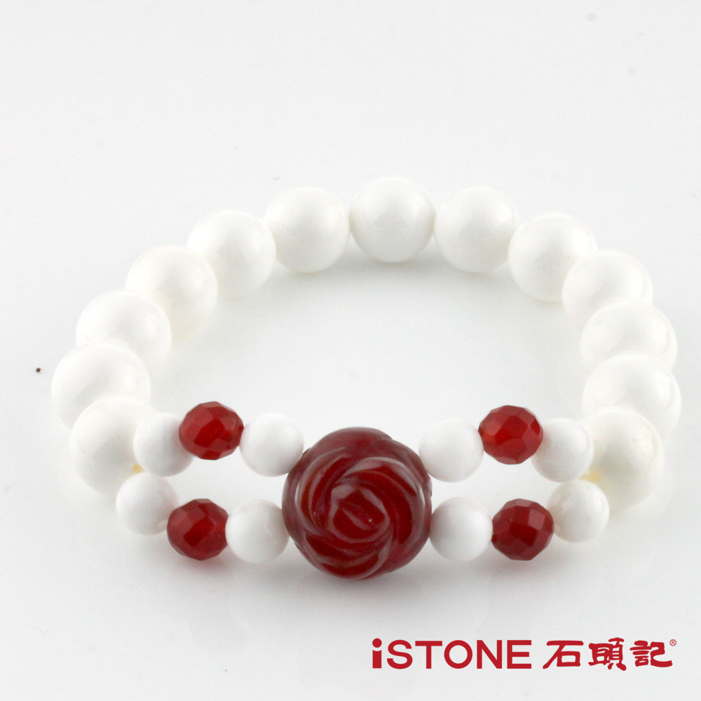 石頭記 10mm硨磲串珠手鍊 -典雅玫瑰