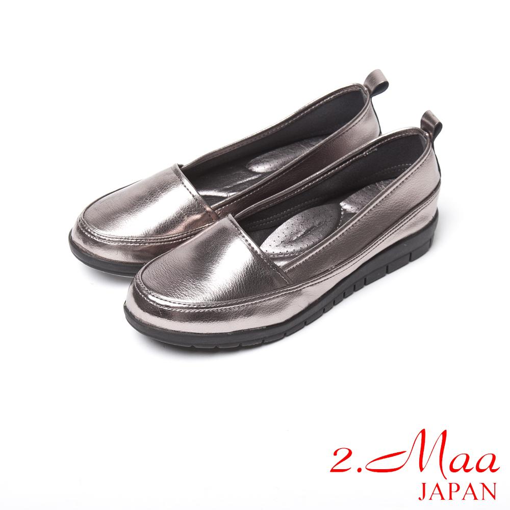 2.Maa 經典時尚柔軟仿羊紋皮家樂福鞋-時尚銀