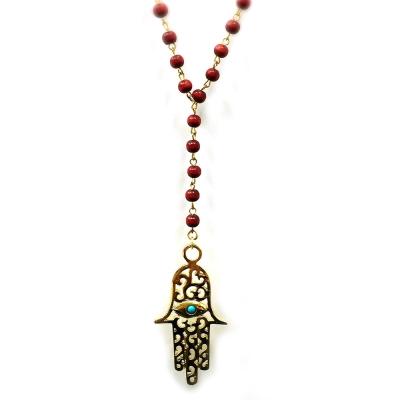 Ettika 美國品牌 古典雕花幸運手掌 紅色珠珠Y字型長項鍊 HAMSA大款