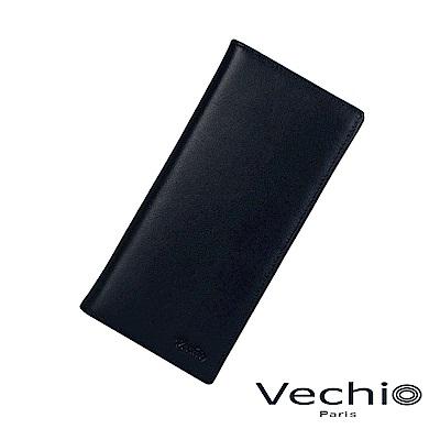 VECHIO-紳士商務款II-經典素面皮革14卡長夾-午夜藍
