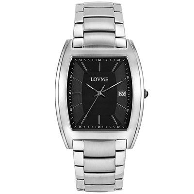 LOVME 優雅風情酒桶造型腕錶-黑/37mm