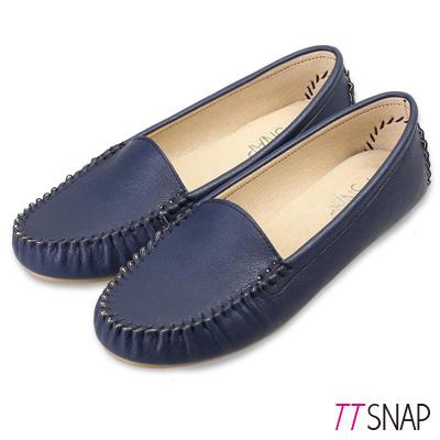 TTSNAP莫卡辛-MIT素面質感真皮豆豆鞋 藍