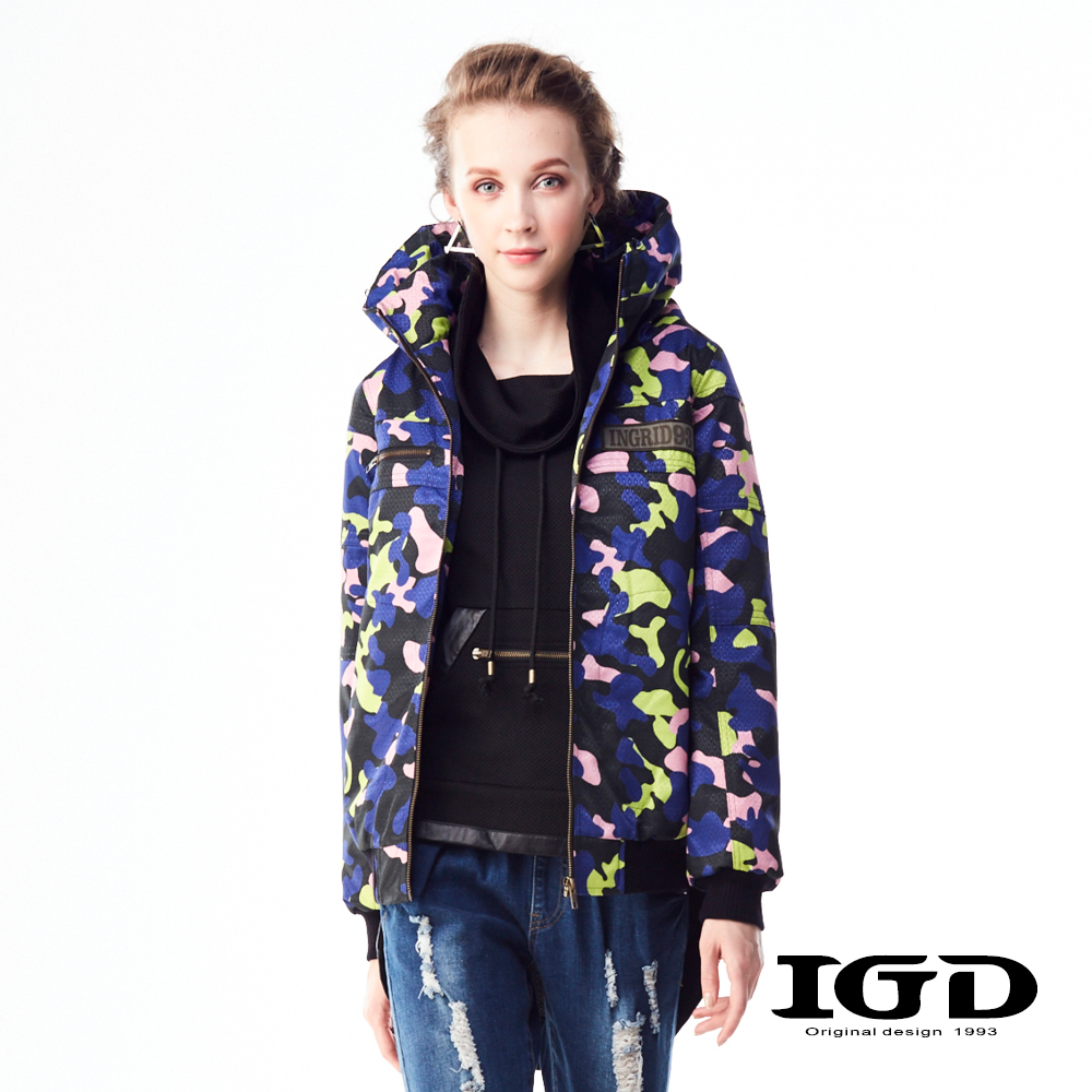 IGD英格麗 迷彩造型連帽鋪棉外套-紫色