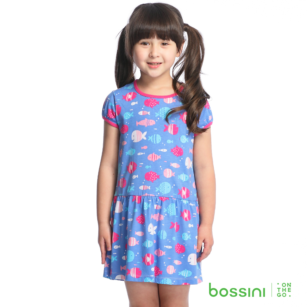 bossini女童-印花洋裝14淡藍