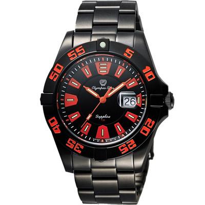 Olympia Star 夜鷹系列 T25 時尚腕錶-黑x橘/43mm