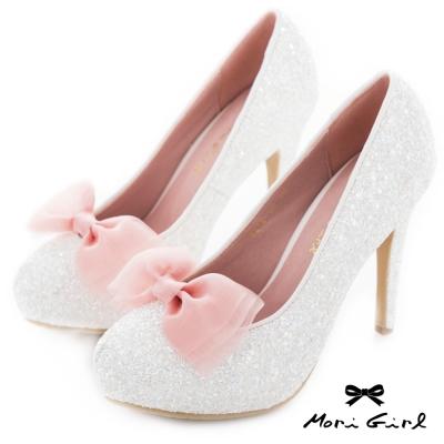 Mori girl 2way可拆式蝴蝶結亮片高跟婚鞋 白