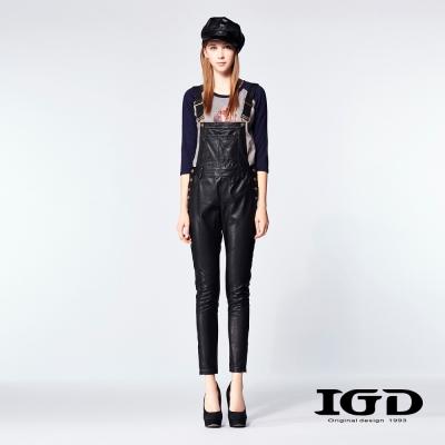 IGD英格麗-率性仿皮褲連身吊帶長褲