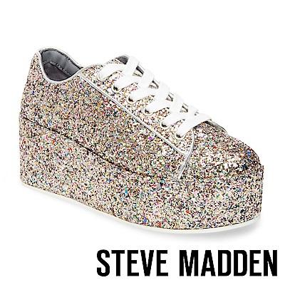 STEVE MADDEN-KARUSO 亮片綁帶厚底鞋-璀璨銀