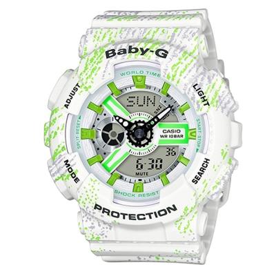 BABY-G霧狀蠟筆紋路設計運動時尚童趣概念休閒錶(BA-110TX-7A)-白/43.3mm
