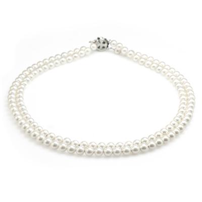 大東山珠寶 6mm南洋貝寶珠雙串項鍊 (白)