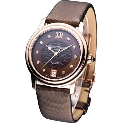 FREDERIQUE CONSTANT 輕舞飄揚機械錶-咖啡色/34mm