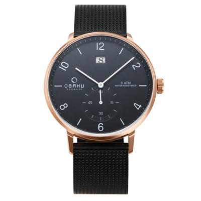 OBAKU 蛻變規則時尚米蘭帶錶(V190GDVBMB)-42mm