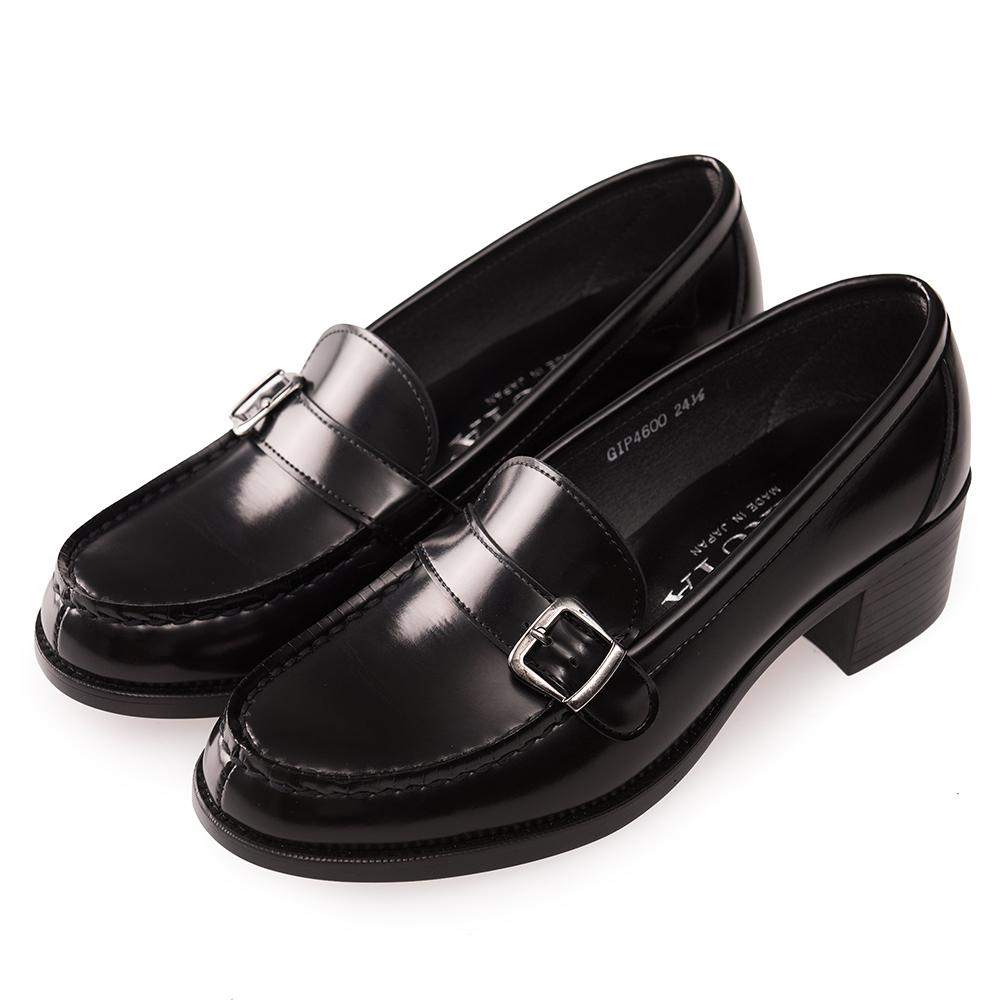 (女)日本HARUTA 經典4600粗跟扣環學生鞋-黑色