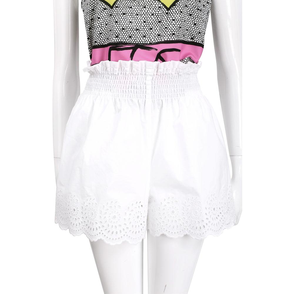 PHILOSOPHY 白色縷空雕花鬆緊設計短褲