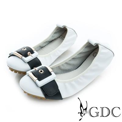 GDC-彈力皮帶飾扣真皮豆豆平底娃娃鞋-白色