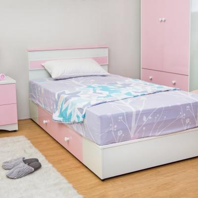 Birdie南亞塑鋼-貝妮3.5尺粉色塑鋼單人加大床組(床頭片+抽屜床底)